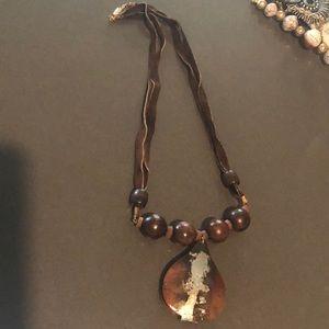 Metal n wood medallion necklace